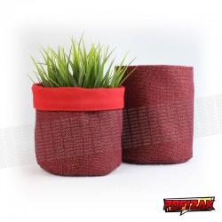 Stoffen bloempot   mand voor plant JUTE rood