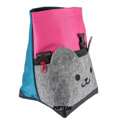 Cat Big Bouldering Chalk Bag Pink & Cyan blue