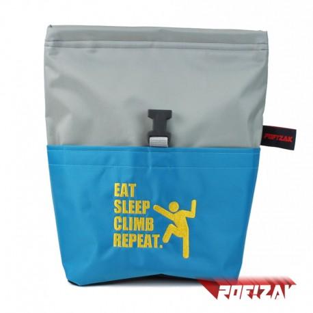 POF!ZAK Bouldering Chalk Bag EAT SLEEP CLIMB REPEAT. GREY/BLUE